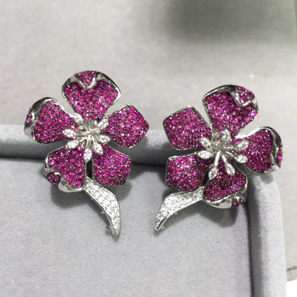 earring jackets 925 sterling silver with cubic zircon flower  for designer  DIY fashion women jewelry top quality earring jackets 925 sterling silver with cubic zircon flower  for designer  DIY fashion women jewelry top quality