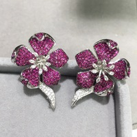 earring jackets 925 sterling silver with cubic zircon flower for designer DIY fashion women jewelry top quality