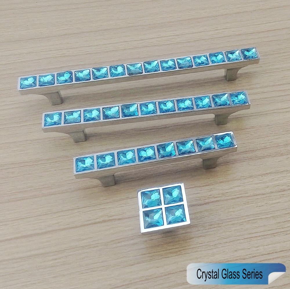 Super Shiny Crystal Glass 3D Diamond Light Blue Handle Furniture ...