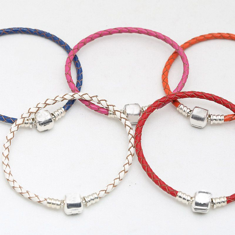 16-31cm 925 Sterling Silver Charm Chain Fit Original Moments Double Woven Genuine Leather Pandora Bracelet for Women DIY Jewelry