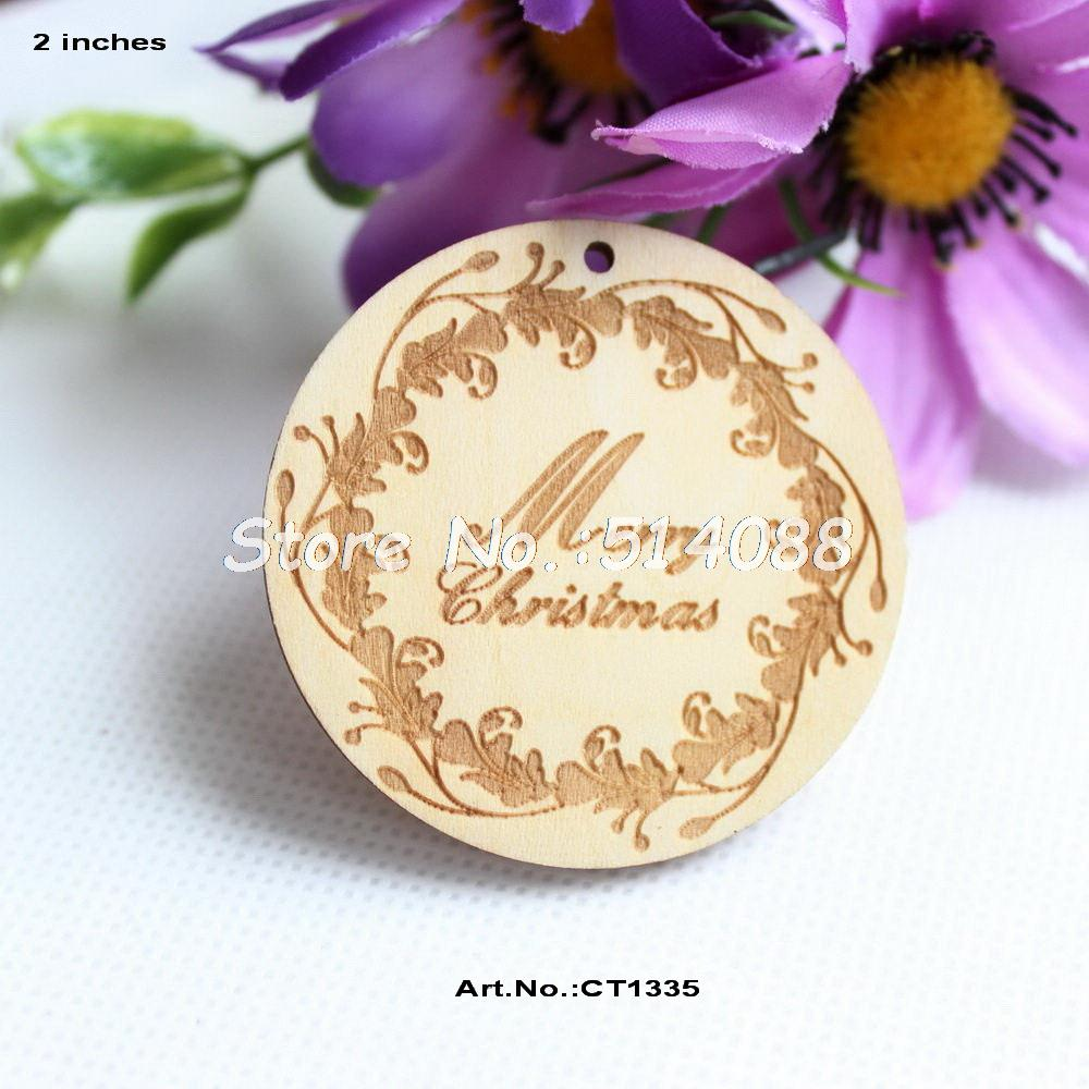 Engraved glass ornaments -  40pcs Lot 50mm Wooden Circles Snowflakes Engraved Christmas Ornaments Disc 2 0 Quot