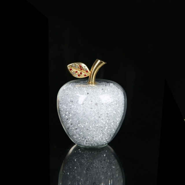 Colorful Crystal Craft Glass Apple Paperweight with Diamond Natural Stone Home Decor Ornament Fruit Figurines Gift Souvenir 6