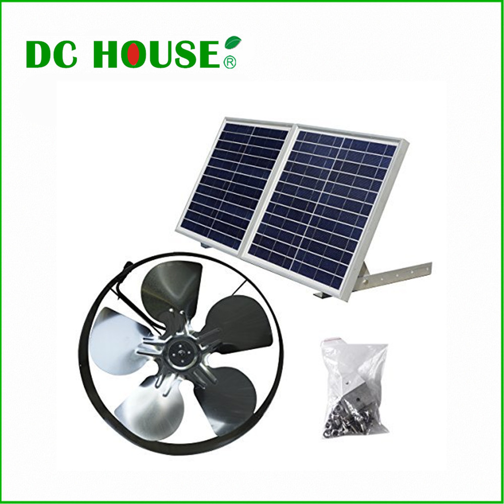 25W Solar Powered Attic Ventilator Gable Roof Vent Fan with 30W Foldable Solar Panel 10w solar attic fan vent roof mounted exhaust ventilator 530cfm for greenhouse garage mobile toilet garden residential house