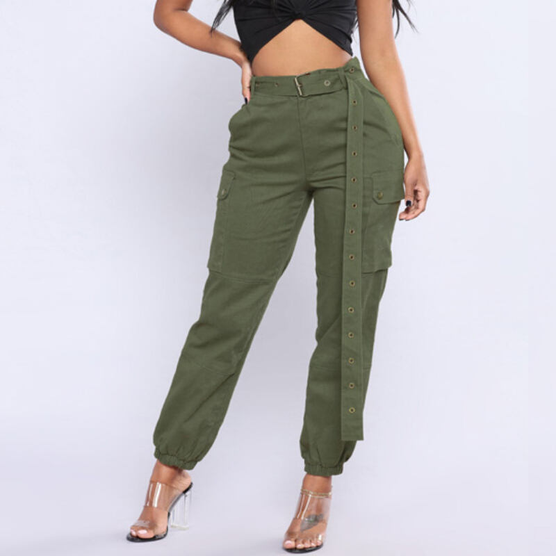High Waist Harem   Pants   Women Cargo   Pants   Army Green Black   Capris   with Belt Dance Hip Pop Trousers Pantalon Femme