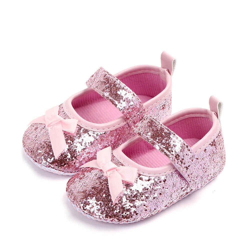 2019 Newest Style Infant Baby Girl Paillette Anti-Slip Shoes For Fashion Baby Girl Prewalkers Princess Dress Up Shoes 0-18Months