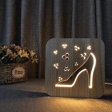 Ladys Style Wooden LED Night Light USB Plug Warm light Bedside Lamp Room Atmosphere Table Decoration Lighting