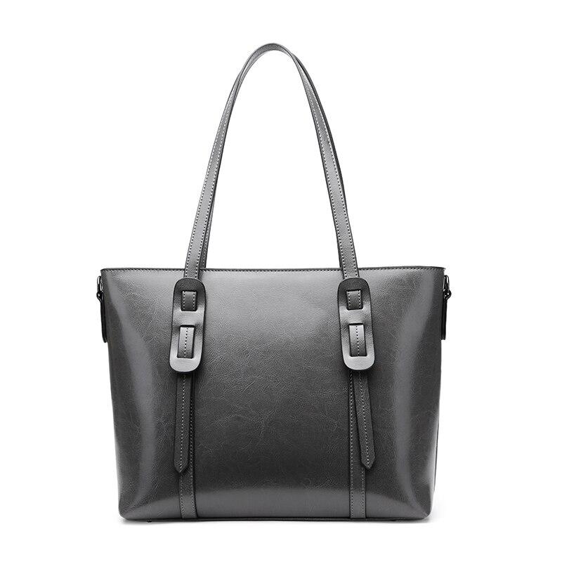 Style européen Shopper sac à main 2019 mode sacs à bandoulière huile cuir Messenger bureau dame fourre-tout sac loisirs femmes blanc sac à main