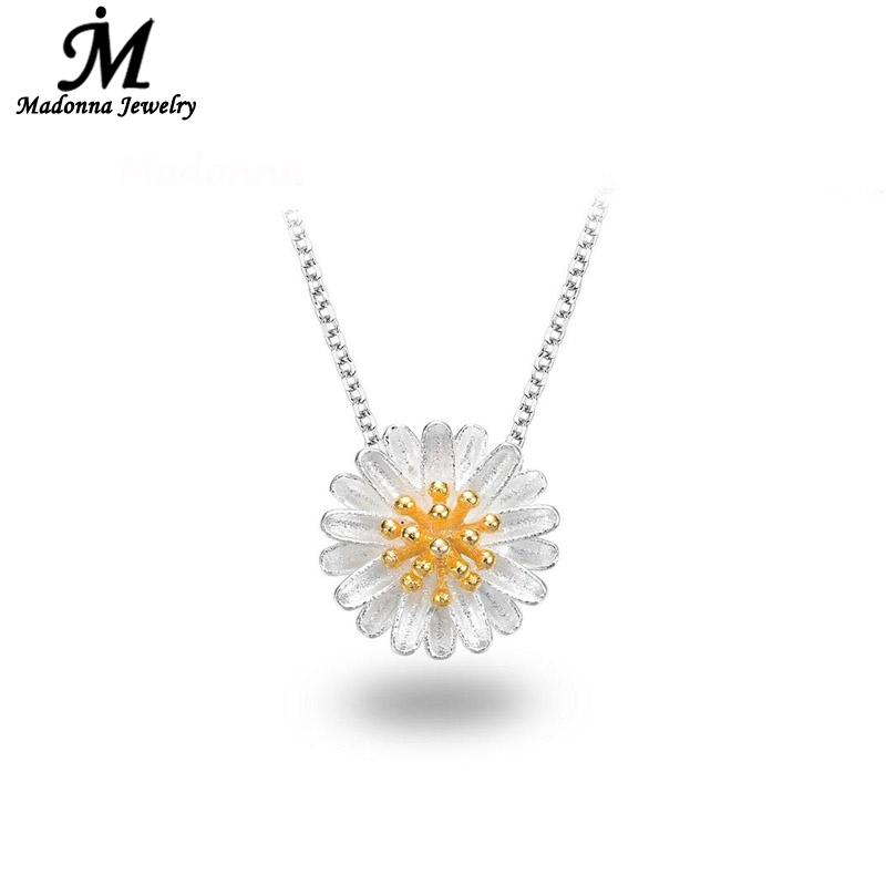 Fashion New Romantic Women Sunflower Necklace Pendant Silver