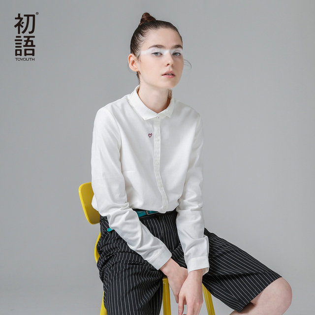 Toyouth Красное Сердце Вышивка Повседневная Женщины Простой Основные Блузка Белого Мода ПР Рубашки С Длинным Рукавом Весна Женщины Блузка