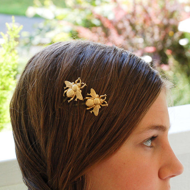 1 Pc Women Girls Hot Fashion Gold Tone Bee Hairpin Side Clip Hair Clip Hairpin 3