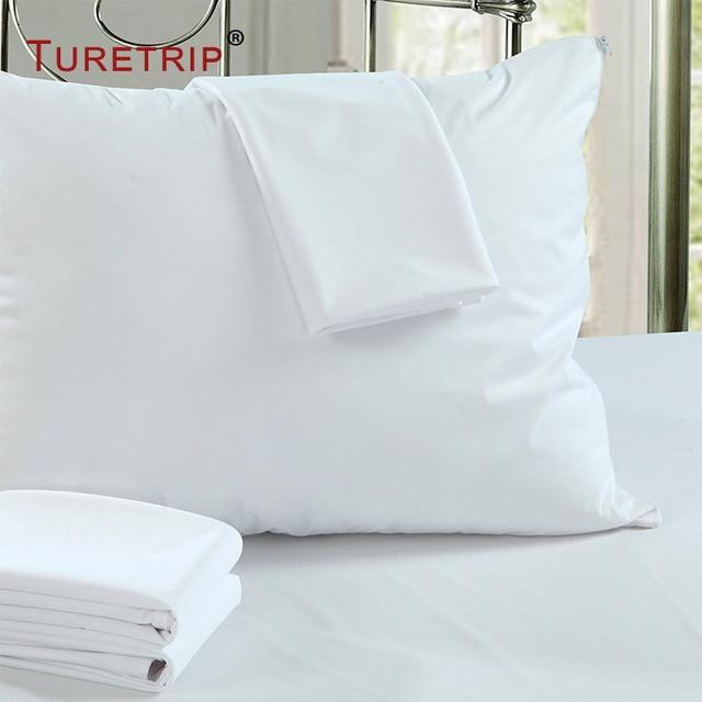 Turetrip 50x70 cm 방수 베개 수호자 2 베개 커버 안티 진드기 침대 버그 증거 지퍼 베개 커버 알레르기 pilow