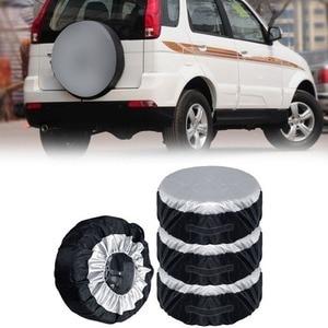 Image 1 - 1 Stuks Tire Cover Case Auto Reservewiel Cover Opbergzakken Carry Tote Polyester Band Voor Auto Wiel Bescherming Covers 4 Seizoen