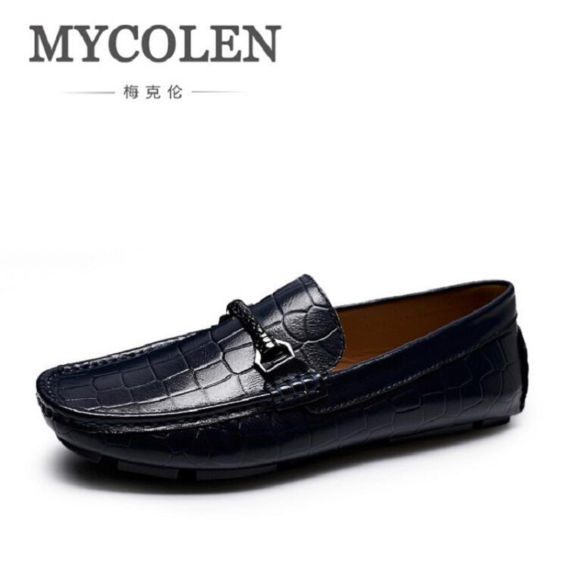 MYCOLEN Casual Moccasins Men Loafers Shoes New Fashion Breathable Slip-On Blue Men Genuine Leather Flat Shoes Sapato Masculino dxkzmcm new men flats cow genuine leather slip on casual shoes men loafers moccasins sapatos men oxfords