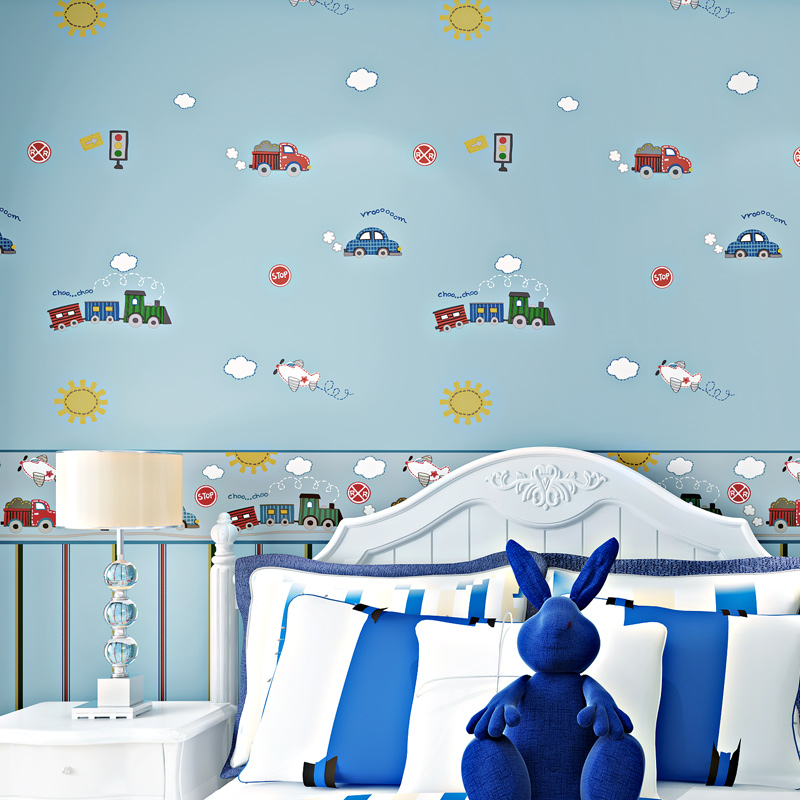 Cartoon Car Wall Paper for Kids Bedroom Blue,Beige Cute Wallpapers For Children Room Non Woven Vertical Stripped Wallpaper