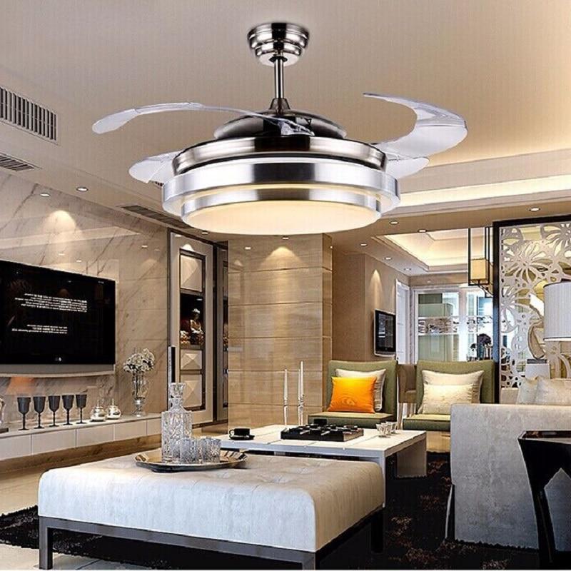 Modern 24Wx2 Bicolor Ceiling Fan Ventilador De Teto Remote Control With  Light Invisiable LED Folding Ceiling Fan Dining Room