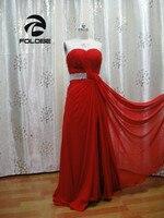 Vestidos De Festa индивидуальный заказ Реальные фотографии красный шифон Милая Бисер кристалл с боковыми Подружкам невесты фрейлина платье