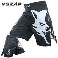 VSZAP Men Polyester Mma Shorts Muay Thai Boxing Shorts Pantalones Mma Black Red Tiger Kick Boxeo Sanda Embroidery Fighting Trunk