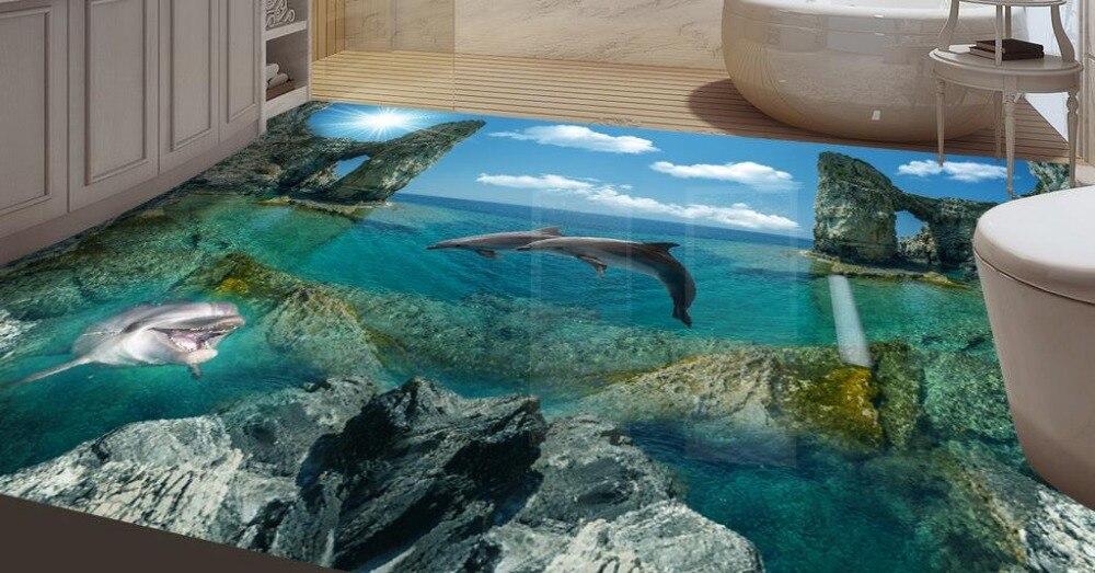 Decoration Home 3d Floor Dolphin Floor Murals Plastic