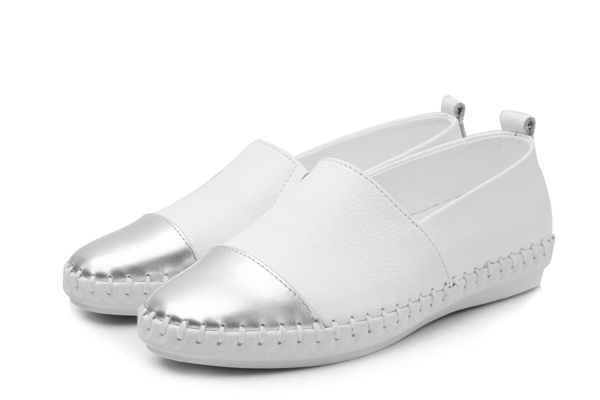 Treu Lefoche 2019 Frauen Einfache Art Und Weise Wilden Echtem Leder Weich Retro-stil Ins Casual Slip-on Atmungsaktive Flach Schuhe