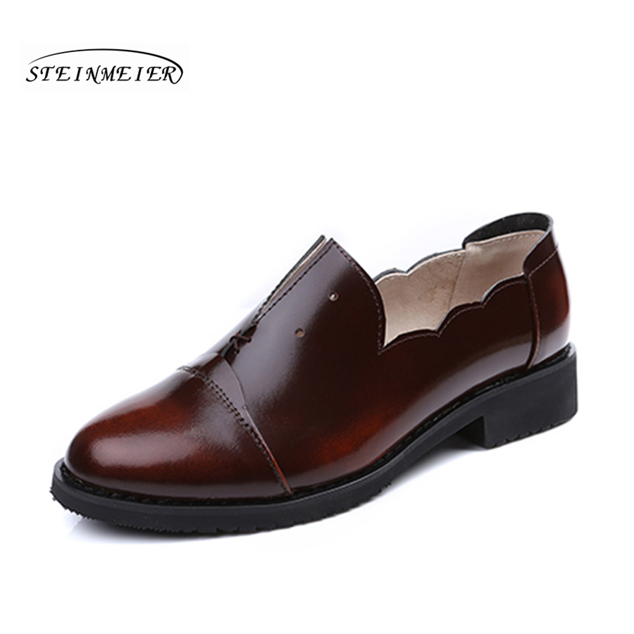 Women flat casual shoes 100% genuine cowskin leather flower mouth brown flat round toe handmade retro brogue handmade shoes handmade 100