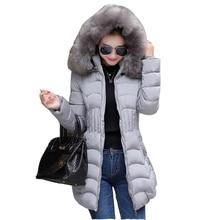 Winter women font b jacket b font long down cotton Coat super large collar parka coat