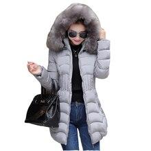 Зимняя куртка женщин длинные вниз хлопка Пальто супер большой воротник куртка пальто плюс размер толстый Надьямарош воротник пуховик F876