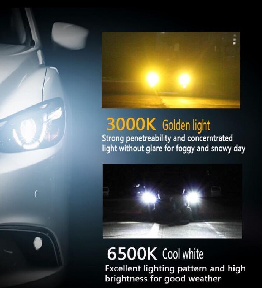 1 セット H8 H9 H11 60 ワット 8000LM デュアル色 S5 LED ヘッドライトルミ ZES チップファンレス送料スイッチ 3000 18K 6500 3000k ゴールデンイエローホワイト電球  グループ上の 自動車 &バイク からの 車のヘッドライトの球 (LED) の中 3