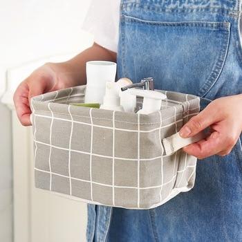 Desktop Storage Basket Cute Print Waterproof Organizer Cotton Linen 5