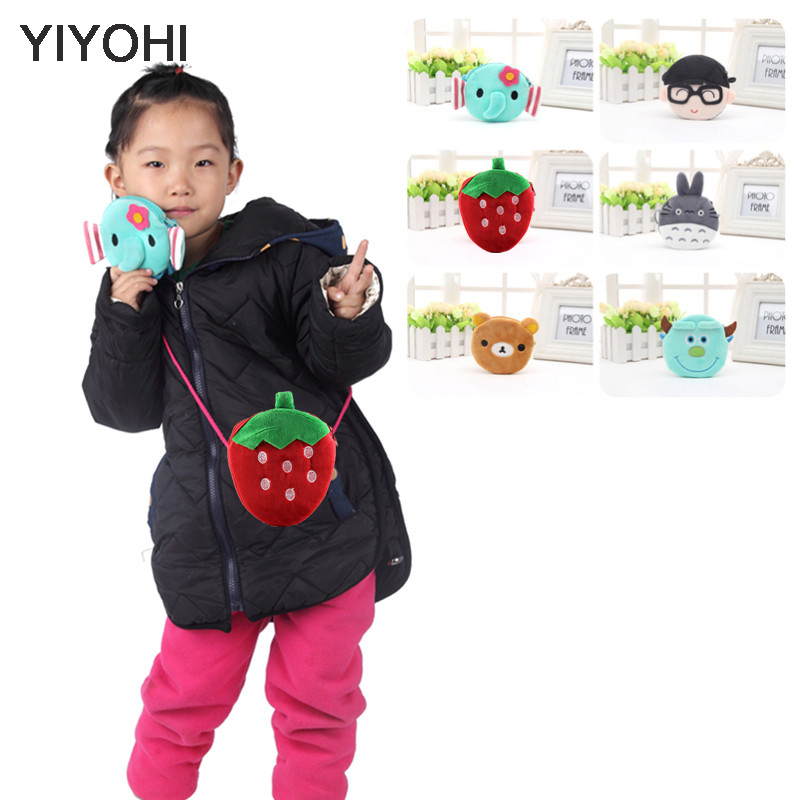 YIYOHI New Baby Girls Mini Messenger Bag Cute Plush Cartoon Boys Small Coin Purses Children Handbags Kids Shoulder Mini Bags