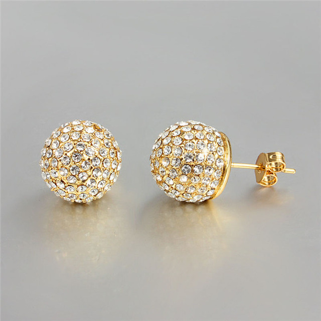 Top Design 18k Gold Plated Ball Stud Earrings Cz Diamond Engagement Jewelry Does Not Fade E676