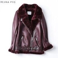 Rejina Pyo 여성 모토 & 바이커 스타일 PU 방수 착실히 보내다 재킷 여성 슬림 턴 다운 칼라
