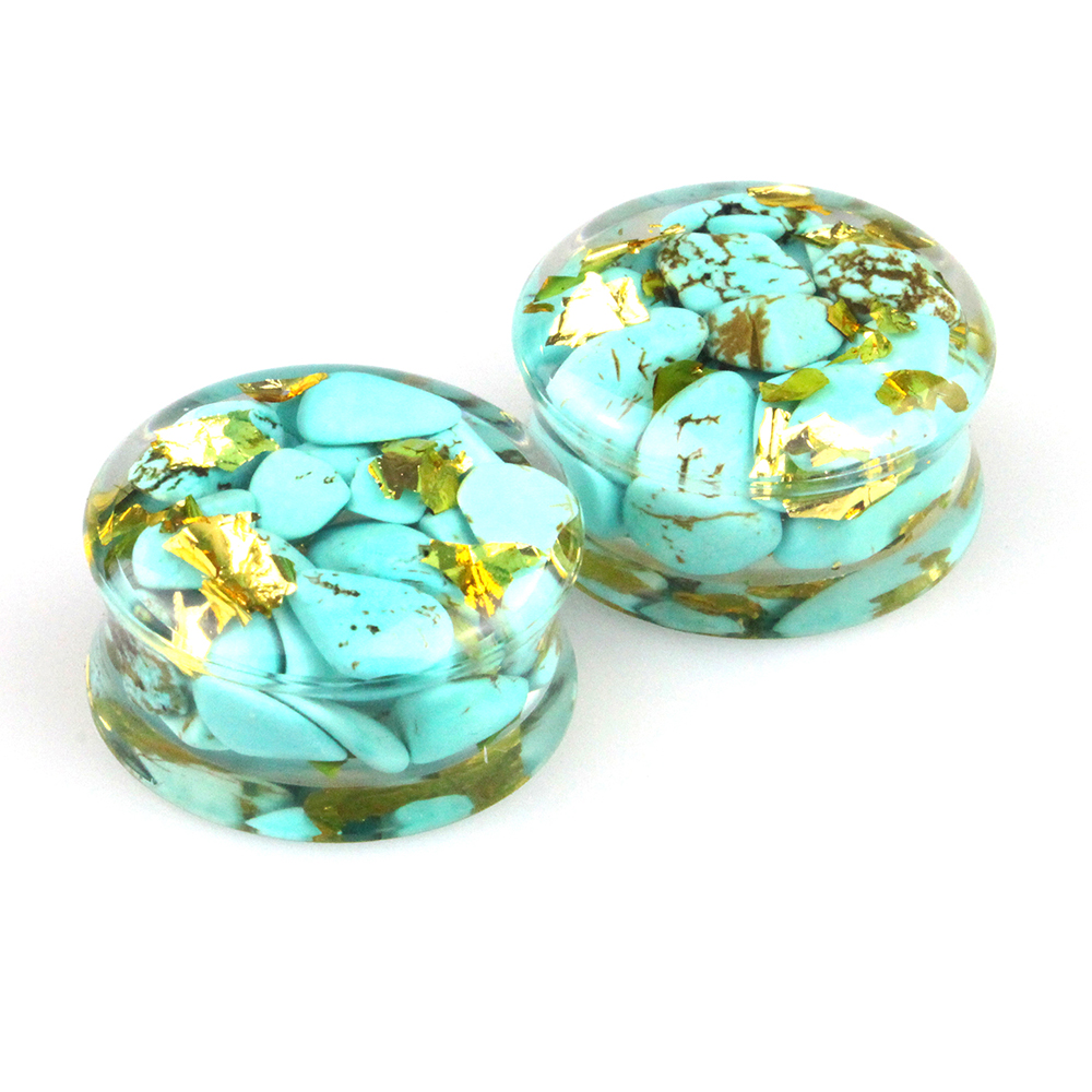 Wholesale Ear Gauges Plug Turquoise stone Gold Foil Resin Flesh Tunnel Expander Body Piercing Jewelry 10mm