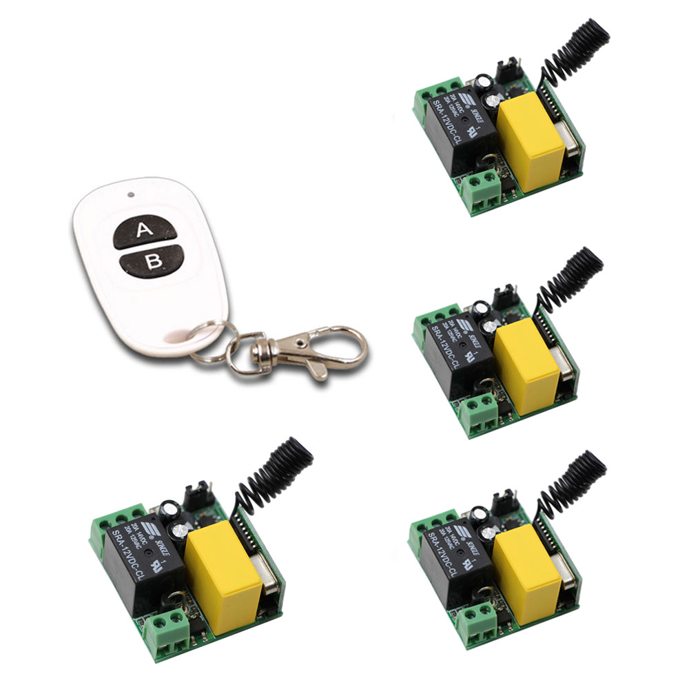 Learning Code AC220V 1CH Wireless Remote Control Switch System 4pcs Receivers with Case & AB Keys White Waterproof Transmitter 2 receivers 60 buzzers wireless restaurant buzzer caller table call calling button waiter pager system