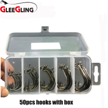 50pcs/set Hamecons De Peche Sea Fishing Box Mustad Offset Hook 2#1#1/0#2/0#3/0# Circle Swivels Tackles Accessories