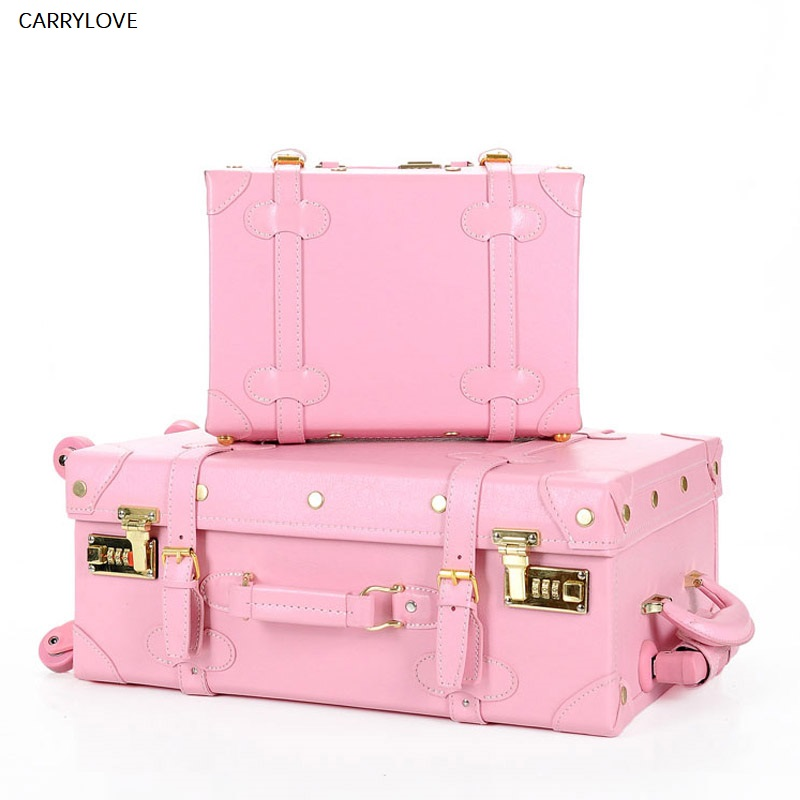 Travel tale High quality girl PU leather trolley luggage bag set,lovely full pink vintage suitcase for female,retro luggage gift