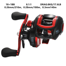 18+1BB Spinning Baitcasting Reel  Metal Wire Cup 8.1:1 Super Strong 8KG/17.6LB Magnetic Force Drag Left Right Hand Fishing Reels