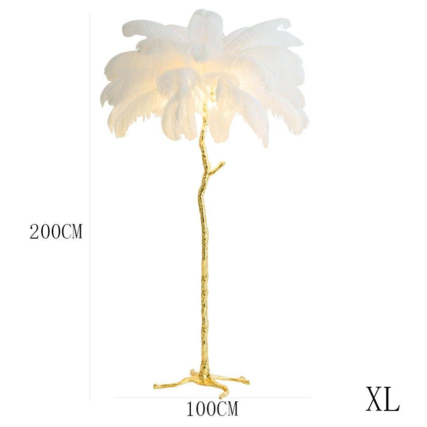 Modern Simple Noridc Ostrich Feathers Copper Floor Lamp Copper Standing for Living Room Bedroom Light Home Decor Indoor Lighting in Floor Lamps from Lights Lighting