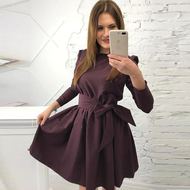 Autumn Long Sleeve High Waist Belt Style Round Neck A-Line Mini Dress 1