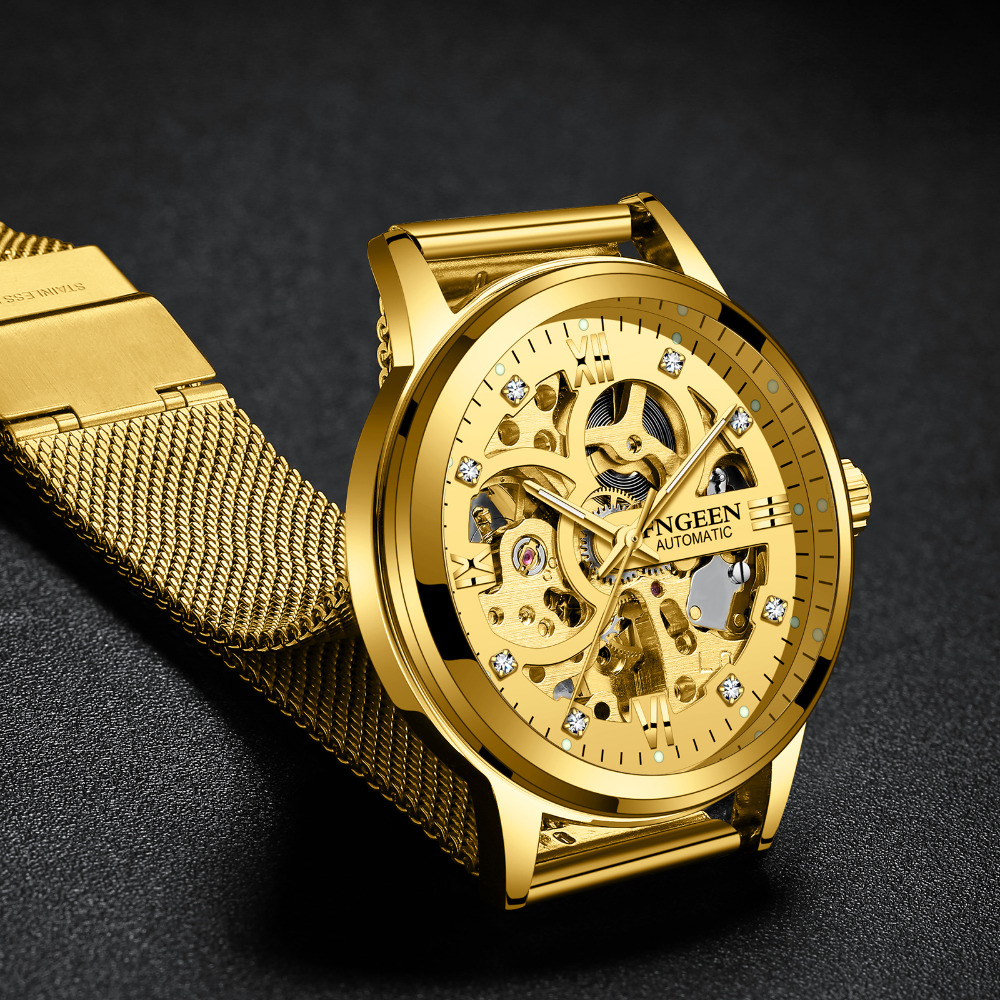 Men Luminous Mechanical Watch Top Brand FNGEEN Luxury Skeleton Automatic Watches Stainless Steel Mesh Strap Men's Watch Relogio