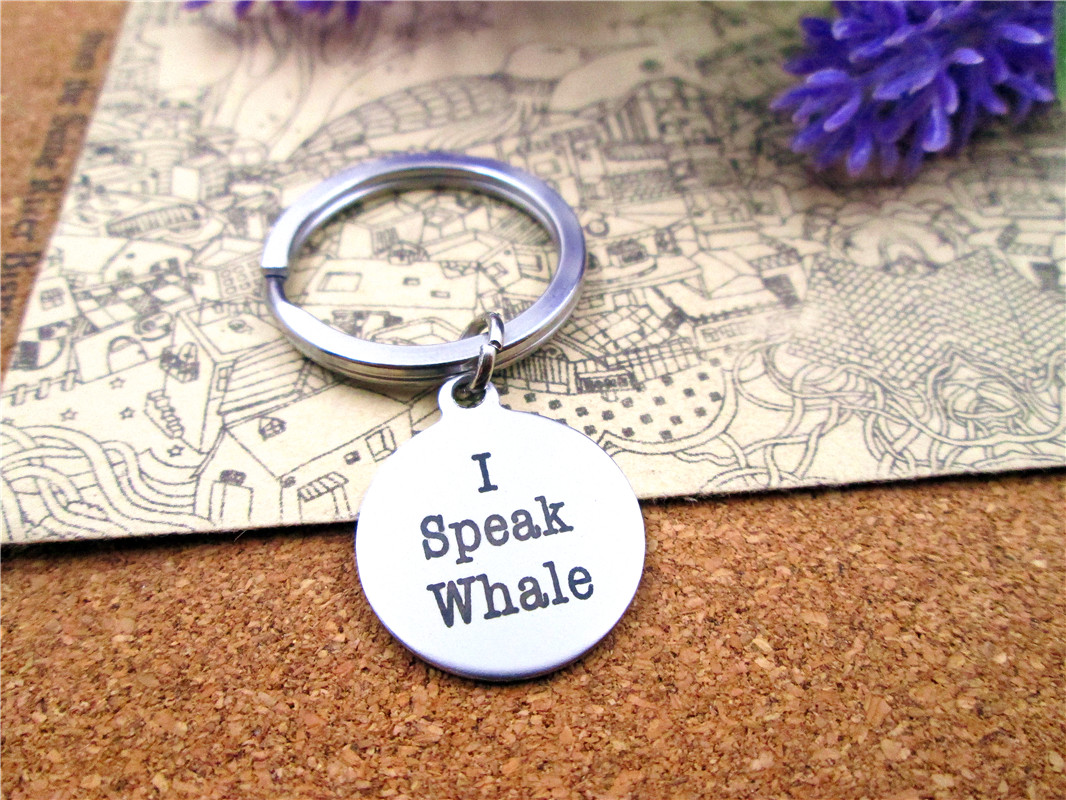 12pcslot 28mm stainless steel keyring with 20mm  stainless steel circle  I Speak Whale     charms keyring