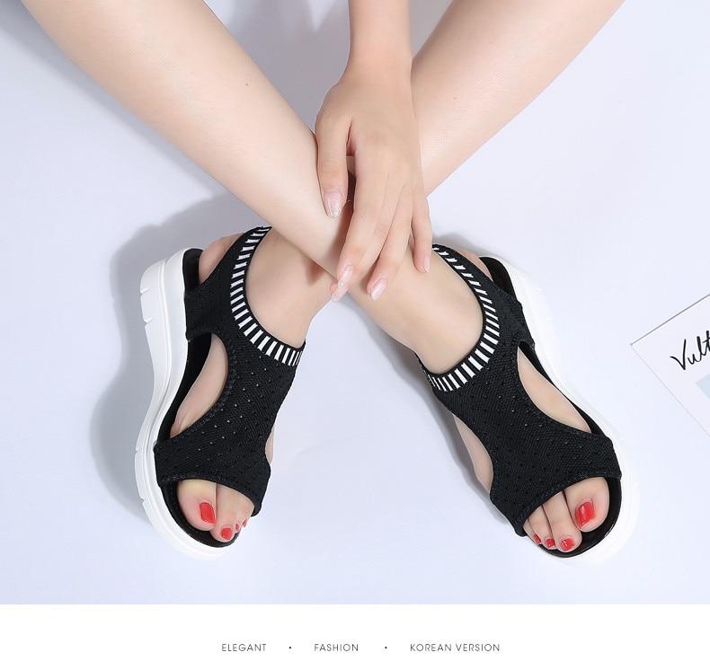 HTB1efjju1GSBuNjSspbq6AiipXaA PINSEN Women Sandals 2019 New Female Shoes Woman Summer Wedge Comfortable Sandals Ladies Slip-on Flat Sandals Women Sandalias