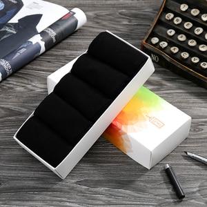 Image 1 - Emilback marca Clássico 5 PRS/Lote Black Dress Negócios meias de Algodão para Homens & Mulheres 200N malha de Alta Qualidade macio e confortável
