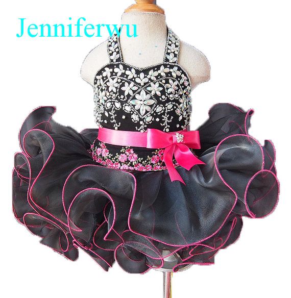 купить black pink baby girl pageant  dress  girl brand clothes baby girl party dress and clothes baby girl  G085 дешево
