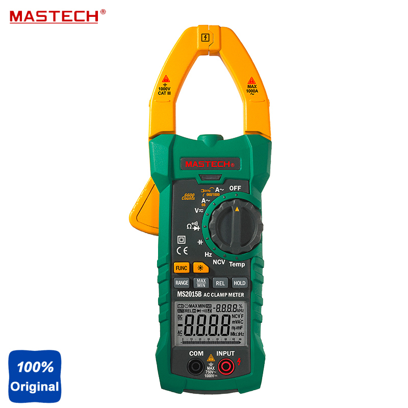 Mastech MS2015B Digital Clamp On Meter Frequency Resistance Capacitance Multimeter mastech my63 digital multimeter dmm w capacitance frequency