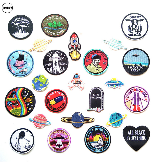30 Style 1 Pcs Ufo Alien Parches Embroidery Iron On Patches For