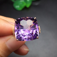 Fine Jewelry AU750 Real 18K Rose Gold 100% Natural Amethyst Gemstone Female Rings for Women Fine Ametist Rings Jewellery