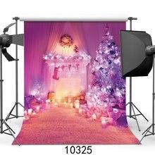 Fondos de fotografía alfombra de cortina de vela con chimenea de Navidad y árbol de Navidad
