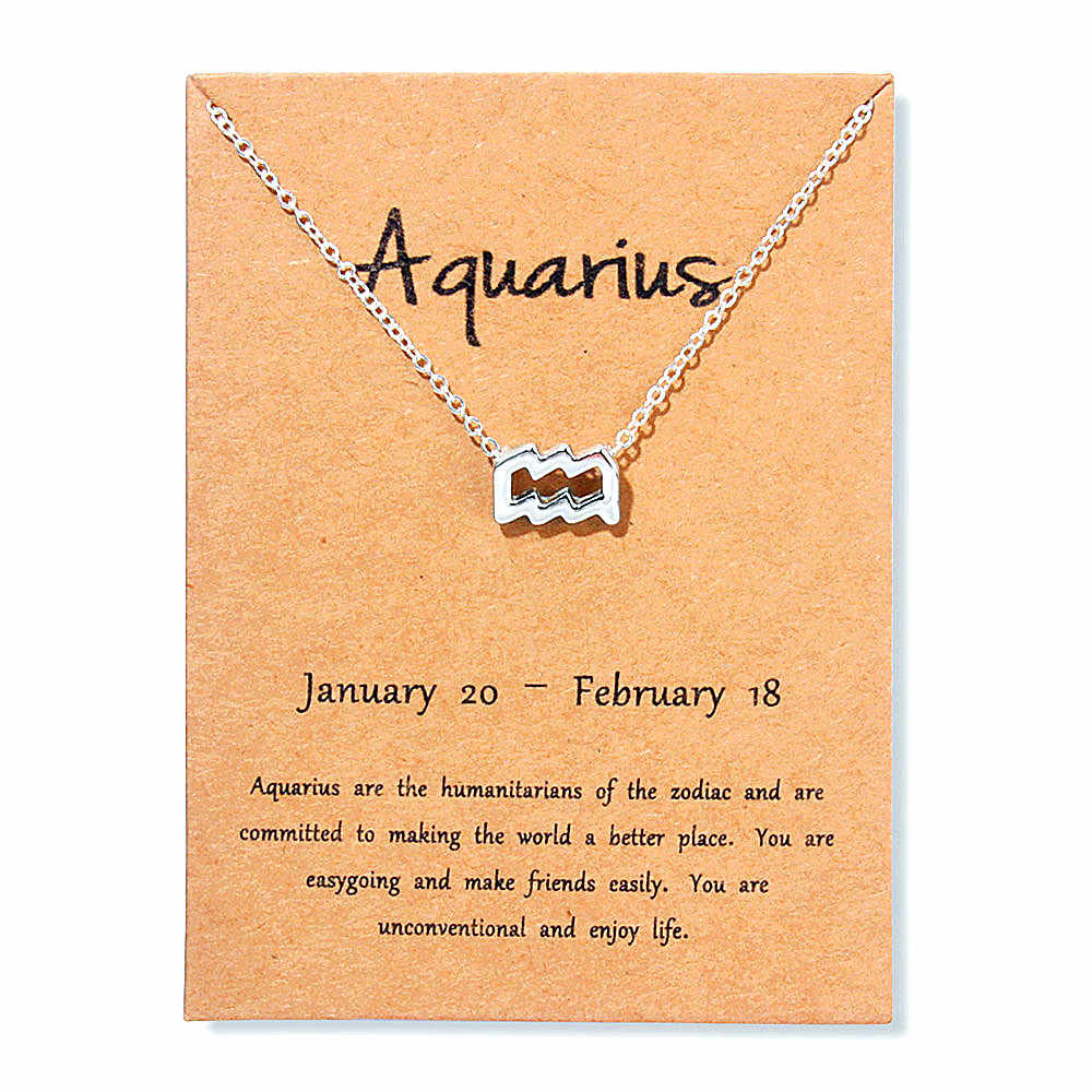12 Zodiac Sign Gold Card Fashion Jewelry 12 Constellation Pendant Necklace For Women Birthday Gifts