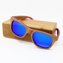 Skateboard Wood Sunglasses Women Men Brand Designer Brown Frame 5 Colors Polarized Glasses with Metal Spring Hinge Gafas De Sol