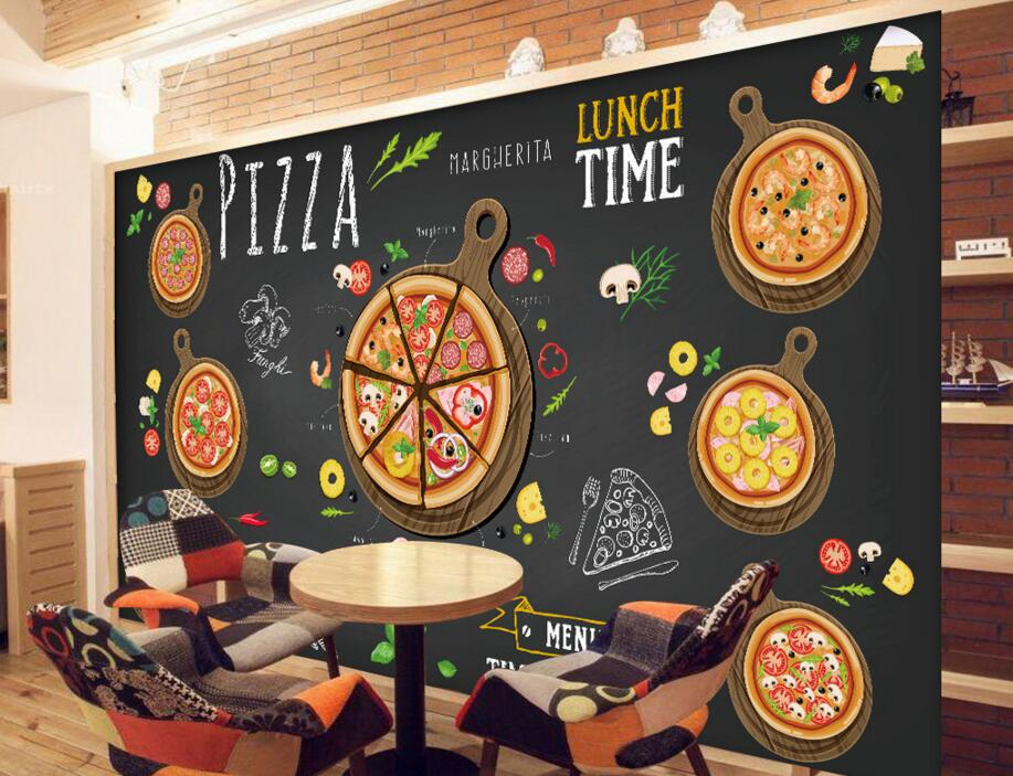 Custom restaurant wallpaper Hand painted cartoon delicious pizza 3D murals for cafe restaurant background wall PVC wallpaper in Wallpapers from Home Improvement